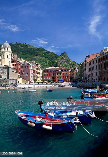 Italy, Liguria, Vernazza, fishing boats moored in harbor, side view