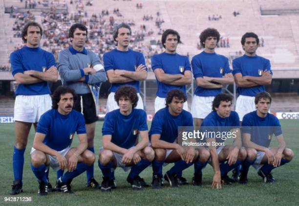 Italy line up for a group photo before the UEFA Euro 1980 Third Place Playoff match between Czechoslovakia and Italy at the Stadio San Paolo on June...