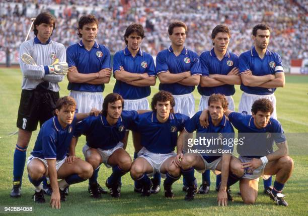 Italy line up for a group photo before the UEFA Euro 1988 group match between Italy and Spain at the Waldstadion on June 14 1988 in Frankfurt Germany...