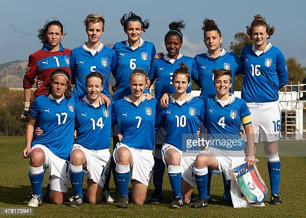 Italy lineup prior to the U19 friendly match between England and Italy at La Manga Club on March 12 2014 in La Manga Spain