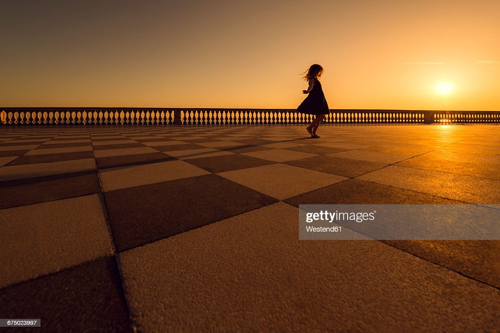 Italy Livorno Silhouette Of Little Girl Dancing On Terrazza Mascagni ...