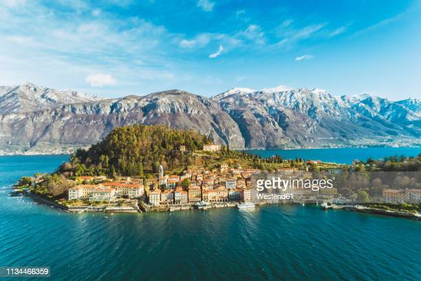 italy, lombardy, aerial view of bellagio and lake como - bellagio stock pictures, royalty-free photos & images