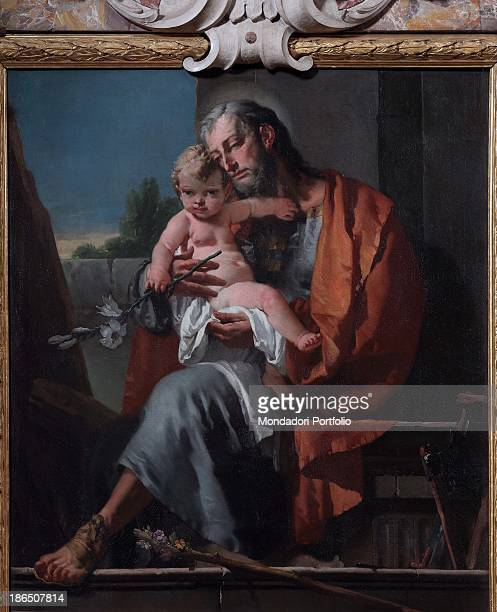 Italy Lombardy Bergamo Church of St Salvatore Whole artwork view The scene set in a family interior appears very intimate and has a strong emotional...