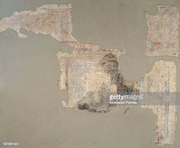 Italy Lombardy Bergamo Palazzo della Ragione Total A fragment of a fresco about a philosopher with an inscription