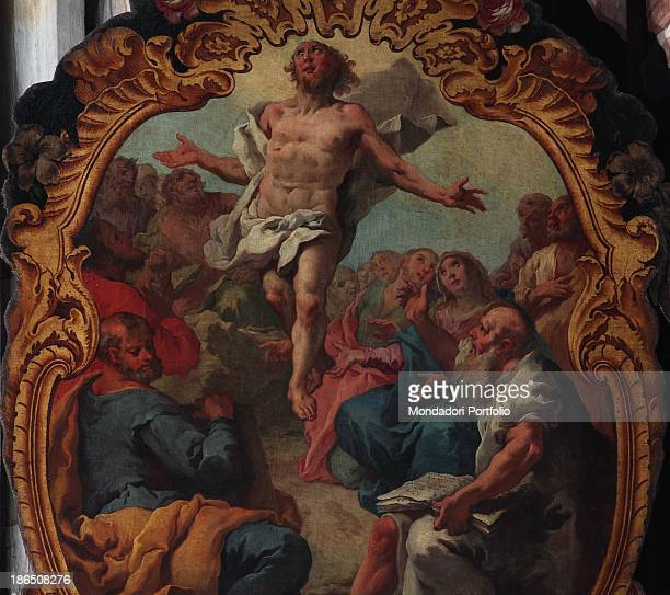 Italy Lombardy Bergamo St Bartholomew's church Detail The disciples with Virgin Mary and the pious women looking at the triumphant Christ