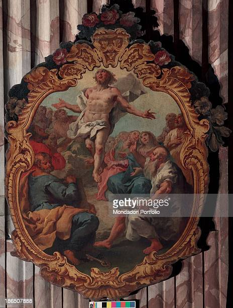 Italy Lombardy Bergamo St Bartholomew's church Whole artwork view This tondo is part of a series regarding Mysteries of the Rosary Jesus ascending to...