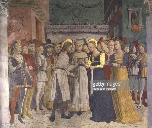 Italy Lombardy Borno Church of Saint Maria Annunziata Whole artwork view Marriage between Joseph and Mary