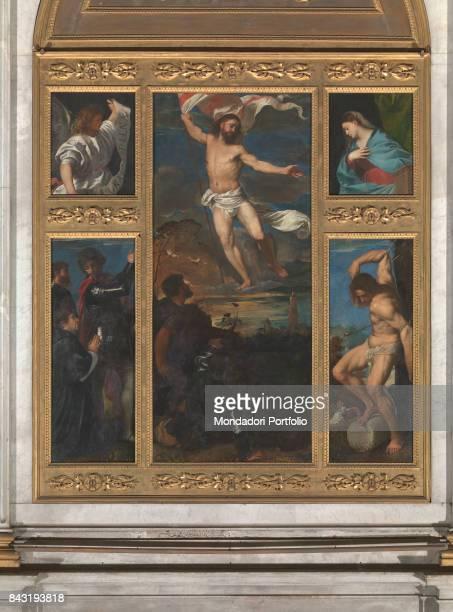 Italy Lombardy Brescia Collegiata di San Nazaro e San Celso Whole artwork view Risen Christ in the central board The announcing Angel and the...