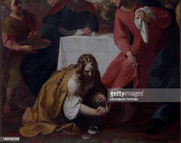 Italy Lombardy Brescia St John the Evangelist's Church Detail Mary Magdalene washing Jesus feet with her tears and scenting them with oil