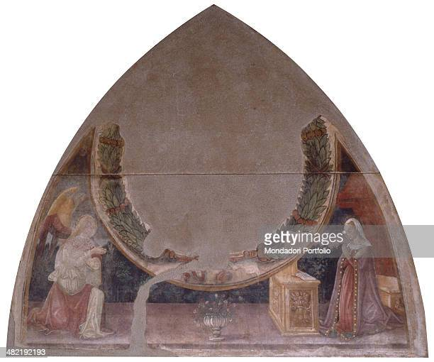 Italy, Lombardy, Brescia, Tosio Martinengo Civic Collection. Whole artwork view. Fragment of a fresco in an arched structure with mary facing the...