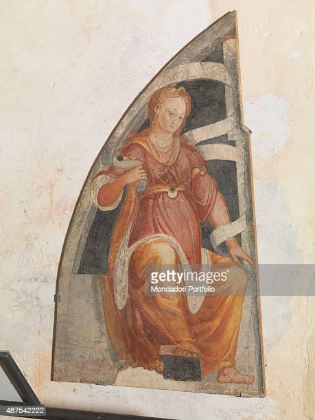 Italy Lombardy Cairate Monastero of Santa Maria Assunta Detail A sitting Sybil holding a cornucopia in her right hand