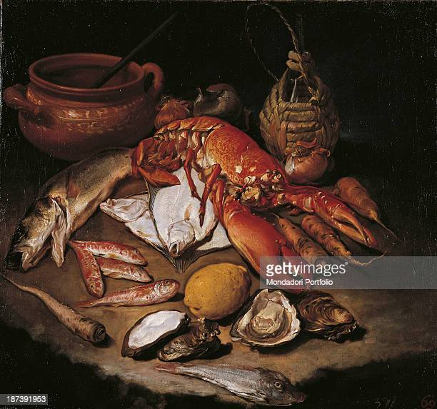 Italy Lombardy Campione d'Italia Private collection All On a table fishes shell fishes and furnishings forming a still life herring lobster turbots...