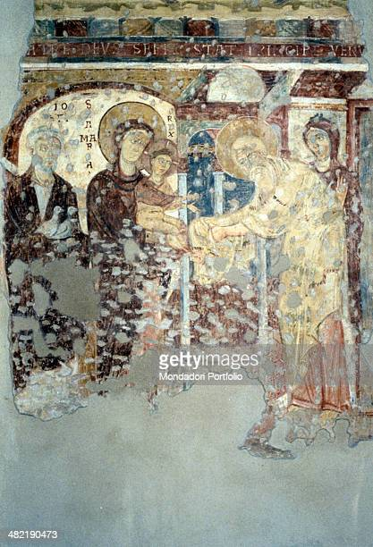 Italy, Lombardy, Casorezzo, Church of Saint Salvatore. Whole artwork view. Fragment of a fresco depicting the episod of the circumcision of Jesus.