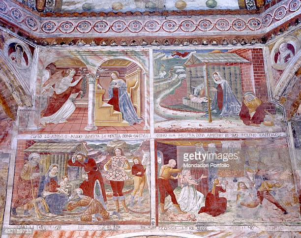 Italy Lombardy Castelleone Saint Mary of Bressanoro Detail Episodes from the life of Jesus part of the rich pictorial cycle of the church
