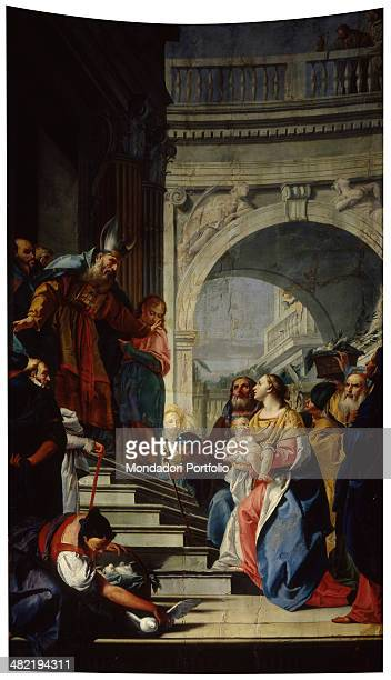 Italy, Lombardy, Cologno al Serio, Parrish Church. Whole artwork view. Mary climbs a stair to Simeon, with baby Jesus in her hands and Joseph close...