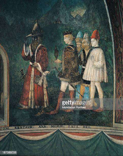 Italy Lombardy Como Palazzo Vescovile Detail The clients in the shape of the Three Kings bring gifts to the Child