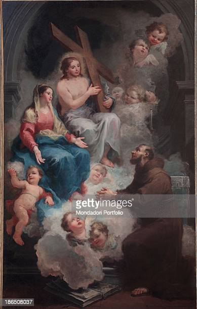 Italy Lombardy Crema St Bernardino's church Whole artwork view The scene consists of three main figures surrounded by hosts of angels Jesus carrying...
