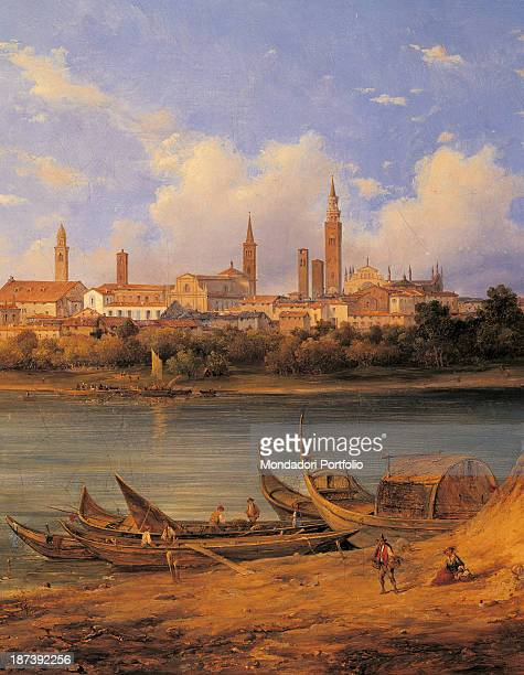 Italy, Lombardy, Cremona, Palazzo Comunale, Detail, View of Cremona from the Po riverbanks,