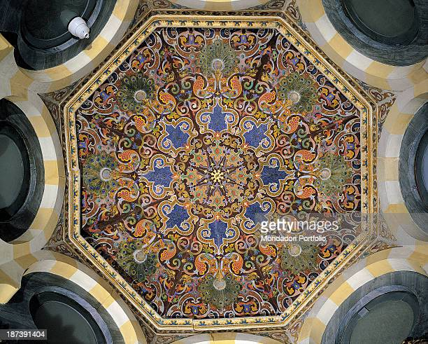 Italy Lombardy Cremona Palazzo Trecchi Detail The ceiling of a boudoir decorated with radial symmetry and geometric patterns bird heads and peacock...