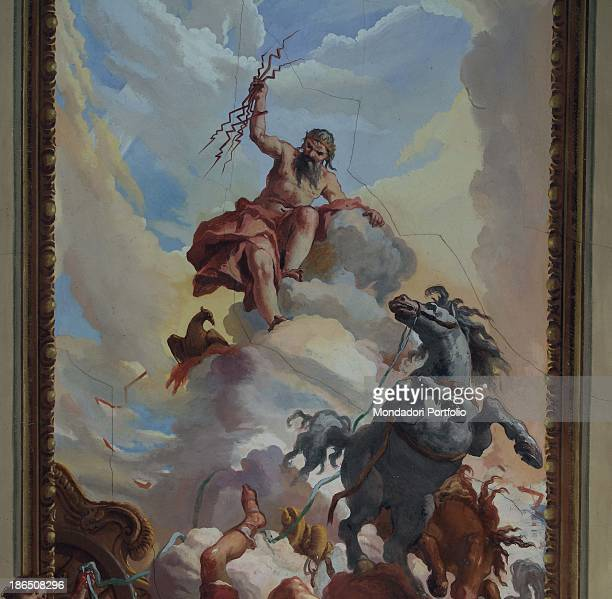 Italy Lombardy Cremona Ricengo Villa GhisettiGiavarina Detail Zeus angry with Phaeton is ready to launch lightnings clutched in his hand to hit him...
