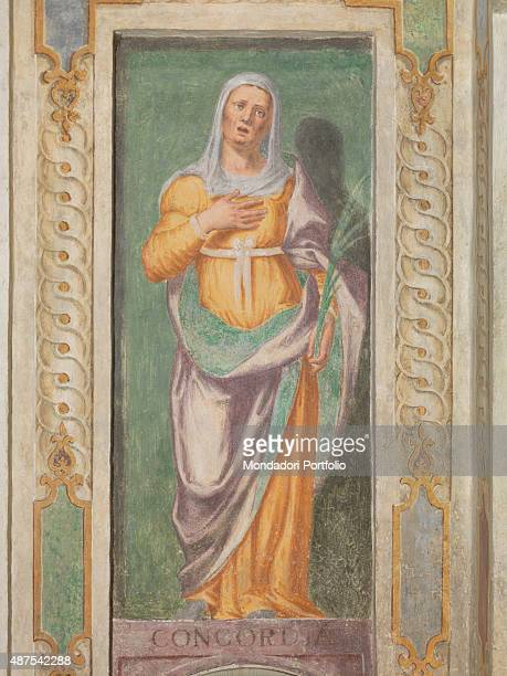 Italy Lombardy Gaggiano Vigano Certosino Oratorio di Sant'Ippolito Detail Saint Catherine of Siena keeping her right hand on her chest and holding...