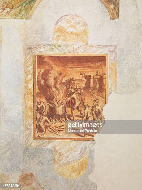 Italy Lombardy Gaggiano Vigano Certosino Oratorio di Sant'Ippolito Detail Martyrdom of English Chartusians persecuted by Henry VIII after the schism...