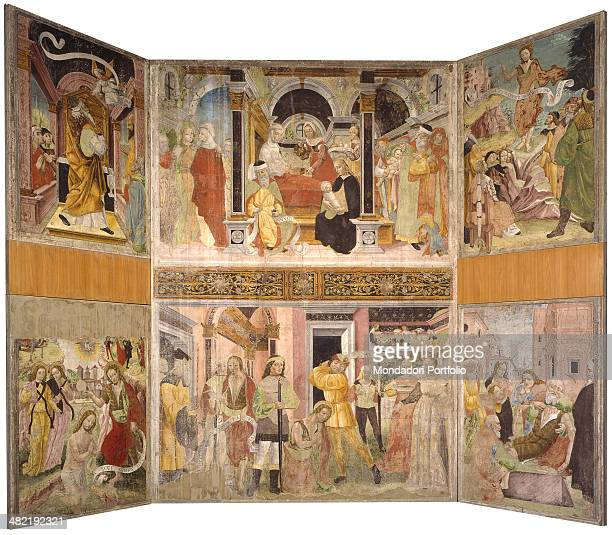 Italy Lombardy Lodi Civic Museum Whole artwork view Pictorial cycle of six episodes the announcement of the angel to Saint Zaccaria the visitation...