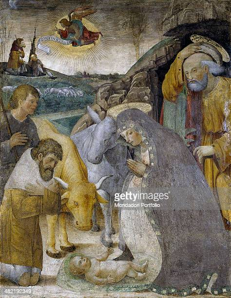 Italy Lombardy Lodi Parrish of Saint Lawrence Whole artwork view Some shepherds come to the cave called by the announcement of the angel to worship...