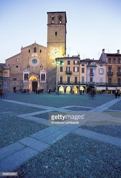 Italy, Lombardy, Lodi, Piazza Della Vittoria, Duomo, Dusk