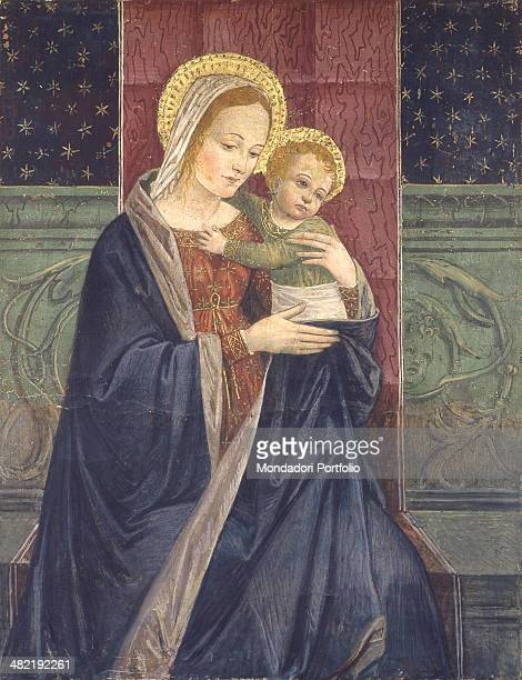Italy Lombardy Lodi Sanctuary of the Encrowned Whole artwork view Our lady sits holding baby Jesus in her arms