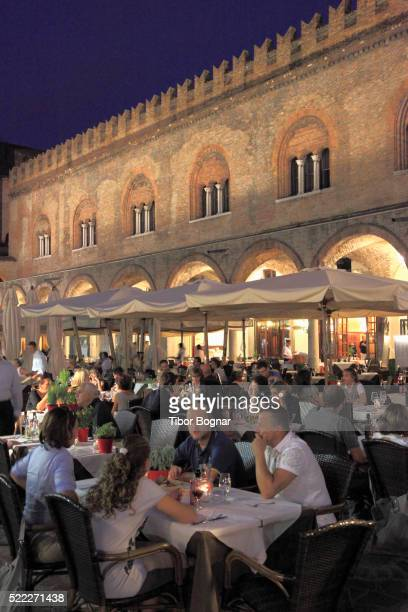 italy, lombardy, mantova, piazza delle erbe, palazzo della ragione, restaurant, - mantua stock pictures, royalty-free photos & images
