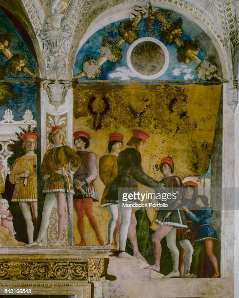 Italy Lombardy Mantua Ducal Palace Detail Dignitaries and counsellors recognizable by their clothes with the colors of arms of the Gonzaga who climb...