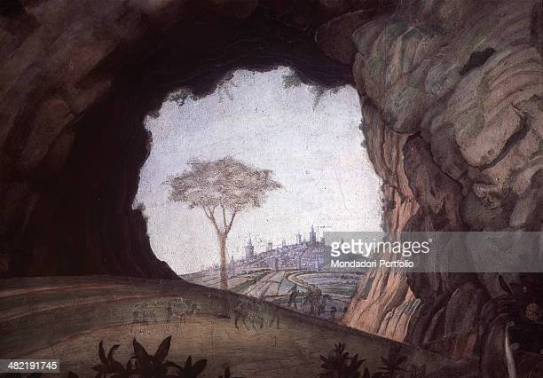 Italy Lombardy Mantua Ducale Palace Detail Detail of the western wall the natural rock arch that frames a tree and a city