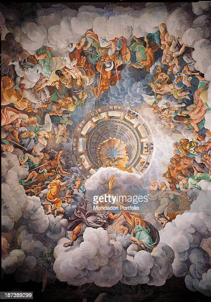 Italy Lombardy Mantua Palazzo Te Detail of the dome Zeus rejects the Giants throwing lightnings to them A crowd of deities surrounds him