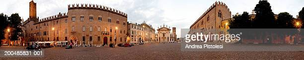 italy, lombardy, mantua, piazza sordello at dusk (panoramic) - mantua stock pictures, royalty-free photos & images