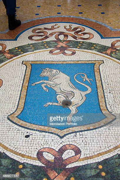 Italy Lombardy Milan 2015 Detail Emblem of Turin which ornates the mosaic floor of the octagon the wide space composed by the intersection of the...
