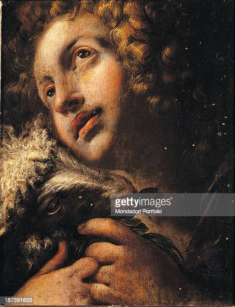 Italy Lombardy Milan Arcivescovado All Saint John as a child with golden curls and a lamb in his arms