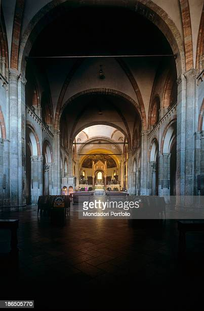 Italy Lombardy Milan Basilica of Sant'Ambrogio Whole artwork view View of the central nave from the entrance to the altar