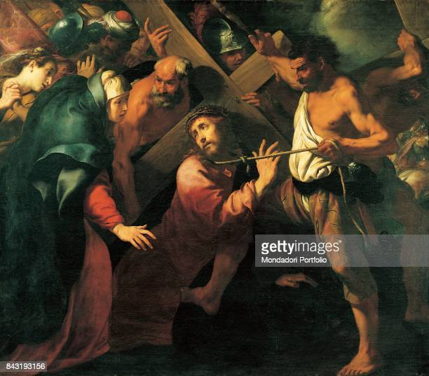 Italy Lombardy Milan Brera Art Gallery Whole artwork view Jesus Christ being comforted by Mary while falling on the way to Calvary because of the...