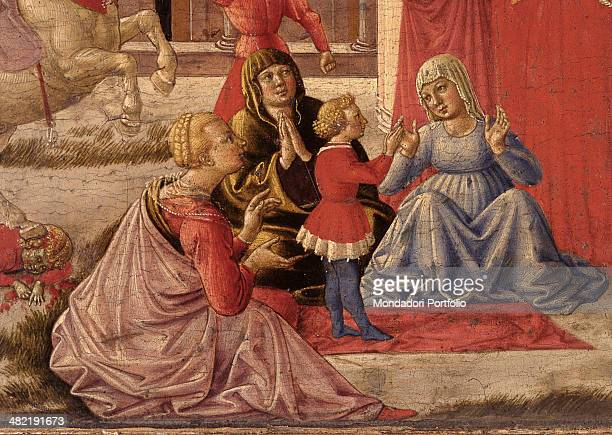 Italy Lombardy Milan Brera Collection Detail Three female figures and the little raised boy