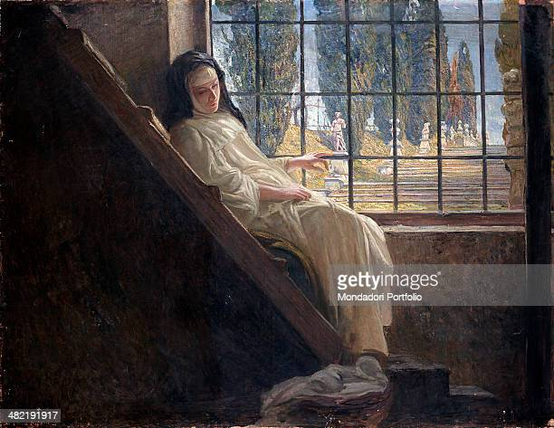 Italy Lombardy Milan Brera Collection Whole artwork view A nun sitting on a stair looking at a lanscape with a staicase and cypresses through a grate