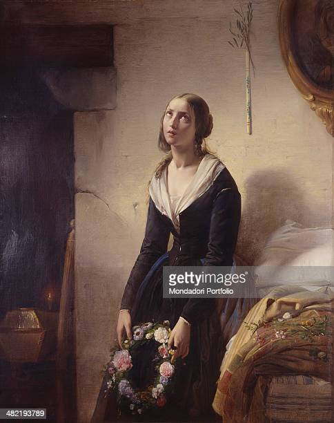 Italy Lombardy Milan Brera Collection Whole artwork view Portrait of a young mother standing next to an empty bed she softly weeps her son's death...