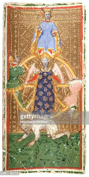 Italy Lombardy Milan Brera Collection Whole artwork view Tarot depicting the Wheel of Fortune on a gold background