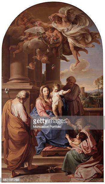 Italy Lombardy Milan Brera Collection Whole artwork view The Holy Family with relatives Zechariah Elizabeth and John the Baptist