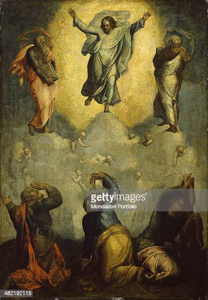 Italy Lombardy Milan Brera Collection Whole artwork view The paint represents Christ in Heaven among two saints on a thick white cloud with putti...