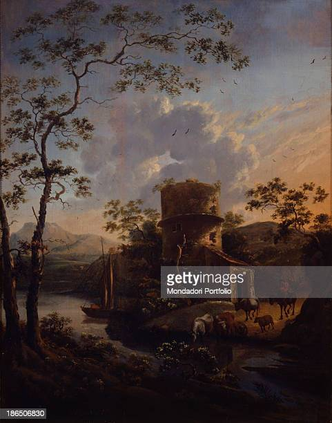 Italy Lombardy Milan Castello Sforzesco Civic Collection of Ancient Art Whole artwork view Rural landscape with ruins and animals wading a river A...