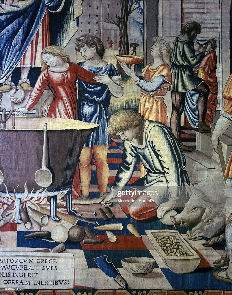 The Months Trivulzio (Dicember), by Benedetto from Milan, from a cardboard by Stuardi Bartolomeo also known as Bramantino, Vigevano Manifacture, 1504 - 1509, 16th Century, wool and silk tapestry, 5 - 6 warp threads per cm : News Photo