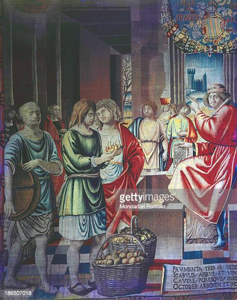 Italy Lombardy Milan Castello Sforzesco Civic Collection of Art Tapestry part of a serie of twelve ordered by Gian Giacomo Trivulzio In detail left...