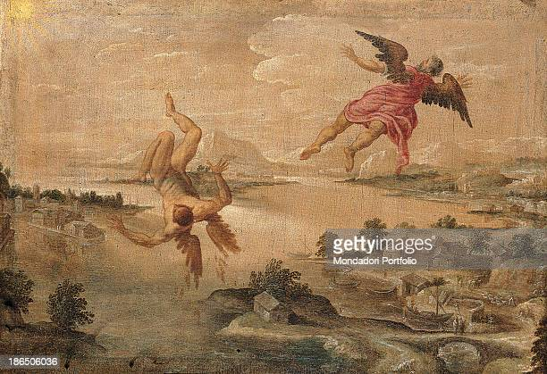 Italy Lombardy Milan Castello Sforzesco Civic Collections of Ancient Art Whole artwork view On the left Icaro is falling from the sky while on the...