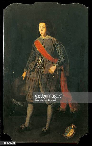 Italy, Lombardy, Milan, Castello Sforzesco, Civic Collections of Ancient Art, Whole artwork view, In a multi-linear canvas a boy dressed as a knight...